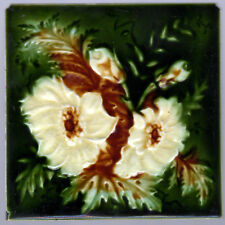 Antique Victorian - c.1890 - White & Amber Flowers - 6x6 - Majolica Tile