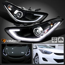 FOR 2011-2013 Elantra 4Dr Black Clear LED Daytime Light Bar Projector Headlights
