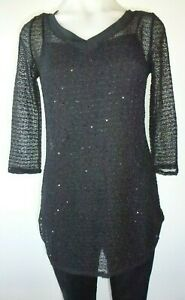 Womens ladies sequin tunic top long black top party dressy tunic size 10 12 New