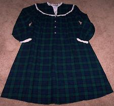 NWT Lanz of Salzburg Blue/Green Plaid Flannel Nightgown LACE Ladies M XMAS Gift