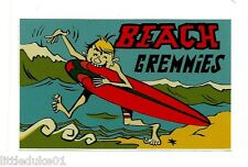 """BEACH GREMMIES"" RETRO Sticker Decal 1960s LONGBOARD SURFING MAL SURFBOARD SURF"