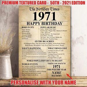 50th 1971  Birthday Present Gift Idea Poster Print Back In Edition Milestone 36