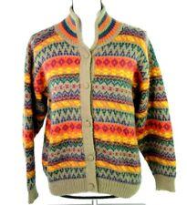Vintage Inca Womens M 100% Alpaca Bright Aztec Cardigan Sweater Made in Peru