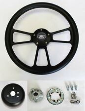 "1978-1991 Ford F-Series Truck Steering Wheel Black Grip on Black 14"" Ford cap"