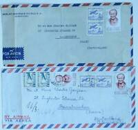 CHILE 2 COVERS 1960s CORREO AEREO STAMPS ANCIENT LETTERS POSTAL HISTORY SAAR