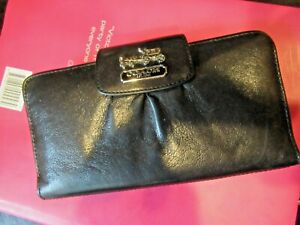 SET 2 Coach Black LEATHER  Signature Checkbook & Wallet Credit Cards Pink Insid