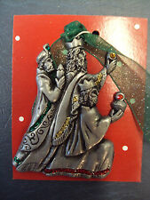 Nativity 3 Kings Wisemen Pewter Christmas Ornament Made in USA NEW