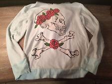 Wildfox Deadhead Skull and Roses Sweatshirt Hoodie Blue Size XS