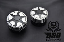 Achscover set 1 Harley Davidson softail Touring Sportster Dyna negro cromo cut