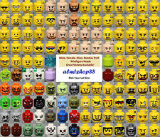 LEGO - Minifigure Heads Assorted - Faces Male Female Alien Yellow City Town Lot