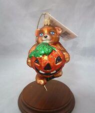 Christopher Radko Pretty Bear w Pumpkin Blown Glass Holiday Ornament