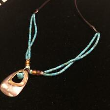 Silpada .925 Sterling Silver Turquoise Glass Beads Leather Brass Necklace N2106