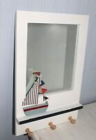 Coastal Design White & Blue Wall Mounted Mirror with wooden hooks