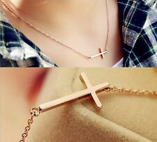 "Stainless Steel ""Sideways Cross"" Pendant Rose Gold Plated Necklace Gift Box"