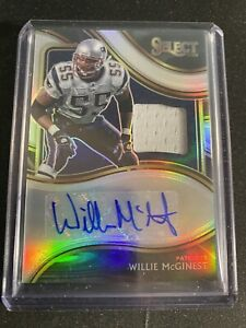 2020 Select Football Willie McGinest Swatch Materials Auto 57/99 Patriots