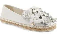 NIB Authentic TORY BURCH Blossom Flat Leather Espadrille in White Size 9.5 $225
