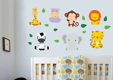 Jungle Animals with Leaves 18 Pack Wall Stickers Decal Zebra Lion Tiger Elephant
