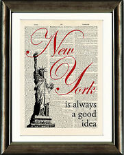 Old Antique Dictionary page Art Print - New York Is Always a Good Idea Quote