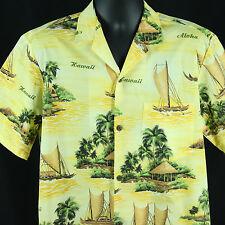 Royal Creations Hawaii Mens L Large Hawaiian Shirt Luau Party Aloha Canoe Boats