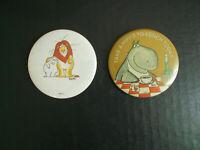 Lot of 2 Vintage Lion Lamb Hippo to Lunch Sandra Boynton Pin Pinback Buttons