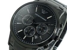 Authentic Emporio Armani AR-2453, Full Black Steel Men's Chronograph Watch
