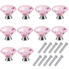 10x Crystal Cabinet Wardrobe Door Knobs Drawer Cupboard Dresser Pull Handle Pink