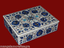 Marble Jewelry Box Pietra dura Lapis Inlay Stone Handicraft Home Decor Gift