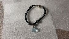 Pandora Black Cord Bracelet Sterling Silver Blue Faceted Crystal Three Charms