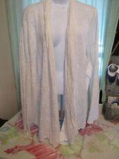 Dialogue 3X Plus White lace cardigan long sleeve  open shawl collar cotton blend