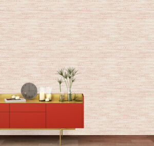 Tempaper Moire Dots Coral & White | Designer Removable Peel and Stick Wallpaper