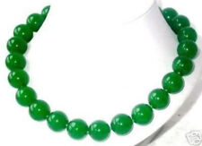 Huge 14mm Natural Imperial Green Jade Round Gems Beads Necklace 18'' AA