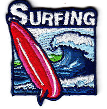"""SURFING""- Iron On Embroidered Applique Patch- Sports, Surfer, Beach, Ocean,Word"
