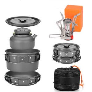 Camping Cookware Bowl Pot Pan Stove Set Outdoor Hiking Picnic Cooking Equipment
