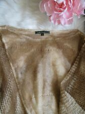 Women's Love Stitch Beige Brown Color Knitted Mohair Wool Acrylic Poncho OS NWT