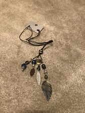 New Next Beaded Blue Feather Necklace