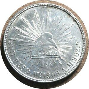 elf Mexico 1 Peso 1908 MoAM  Cap and Ray