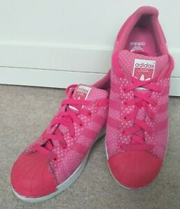 PINK ADIDAS SUPERSTAR TRAINERS UK SIZE 5.5. GOOD USED CONDITION