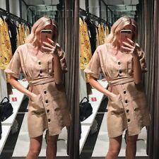BNWT ZARA utilidad Camisa Vestido Talla M 10 bolsillos cinturón de bronceado botones en la cintura Té