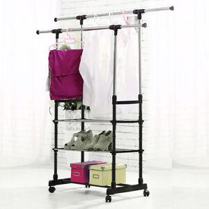 Clothes Rail Rack Garment Dress Hanging Display Stand Shoe Rack Storage Shelf U