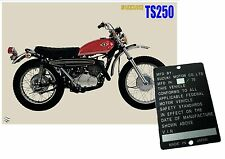 SUZUKI T250 TS250 T100 data plate Frame year 70 Chassis, other available,ask