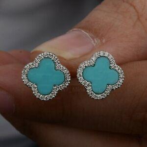 Genuine Turquoise Diamond Solid 14K White Gold Mini Clover Flower Stud Earrings