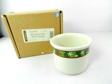 Longaberger Holiday Crock Pottery One Pint Snowflakes #30001 White Green Red