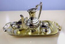 Vintage Japan Miniature Gold Metal Tea Set Tray Teapot Sugar Creamer Doll