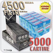 4500 Filtri RIZLA SLIM 6mm + 5000 Cartine OCB NERE PREMIUM CORTE 100 Libretti