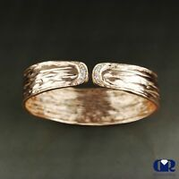 Handmade Diamond Open Bangle Bracelet In 14K Solid Rose Gold