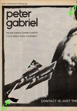 Peter Gabriel Genesis Shock The Monkey Advert NME Cutting 1982