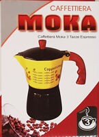Coffee Pot Percolator 3 6 Cup Espresso Moka Maker Black Yellow Enamel Aluminium