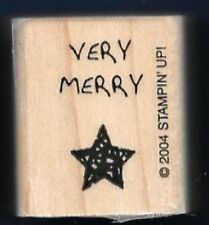 VERY MERRY STAR DOTS occasion card words Stampin' Up! 2004 Wood RUBBER STAMP