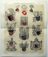 Heraldy: Development of the Coat of Arms - Original 1895 Chromolithograph