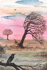LE #1 4X6 POSTCARD RYTA RAVEN CROW SYMPATHY LIFE ENDING LANDSCAPE ACCEPTance art